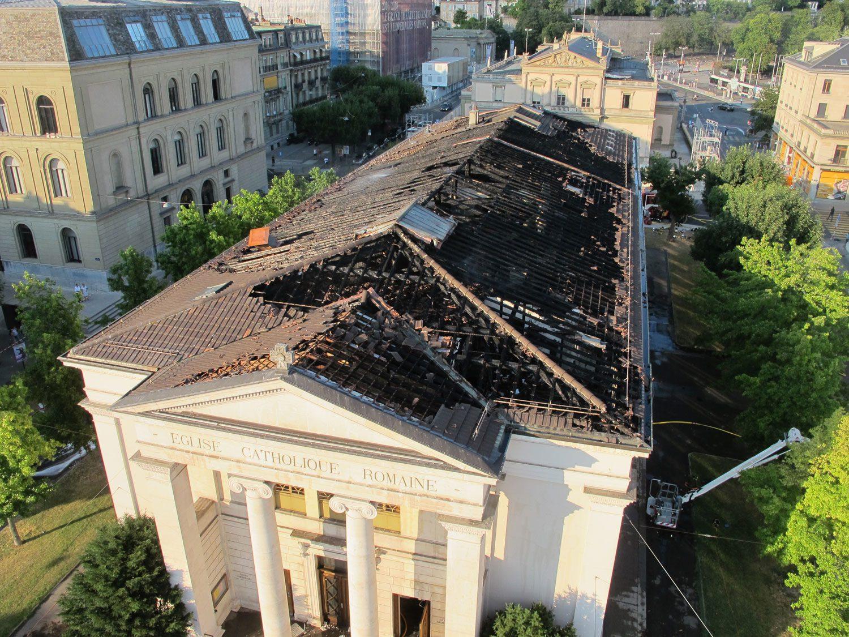 Incendie à l'église du Sacré-Cœur juillet 2018 Genève